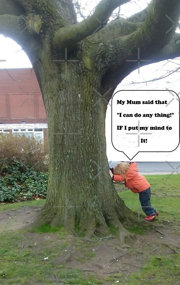 "(PLNB) Bargee Boy(s)  ""Boy trying to push over a tree"" Humour Card by KABFA"