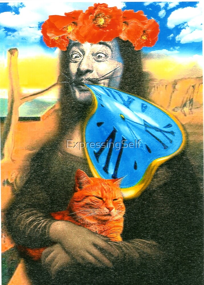 Salvatore Dali and Clock and Cat - Obviously by ExpressingSelf