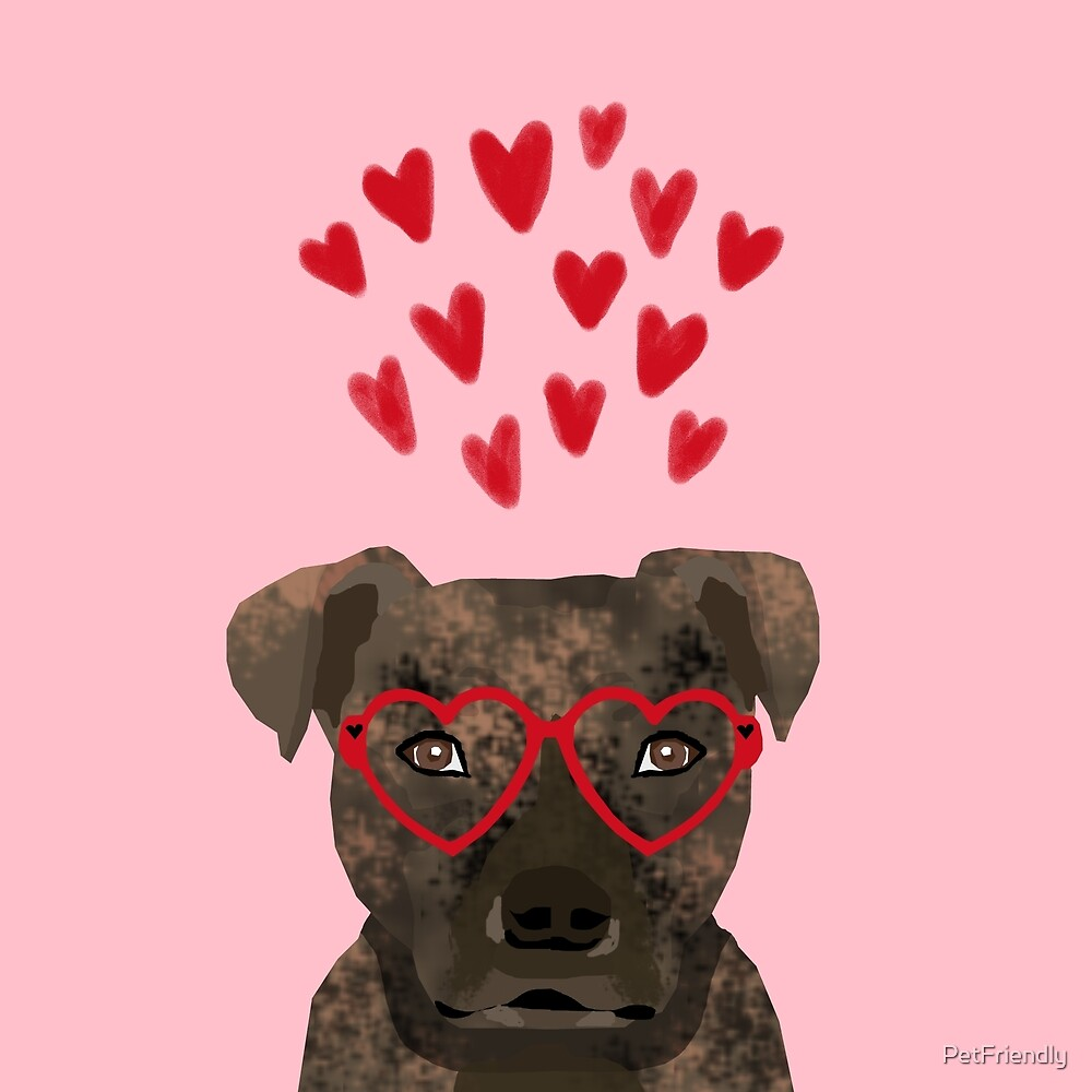 Pitbull head love hearts valentines day gifts for dog breed pibble lovers by PetFriendly