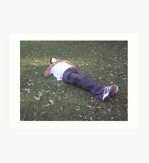 Enjoying a snooze in a partially shaded green meadow Art Print