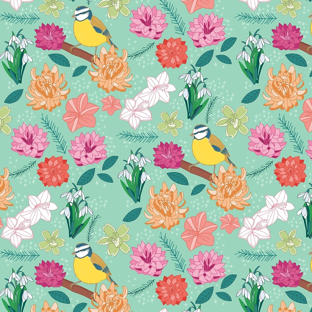 Joyful colourful floral pattern with bird by victoriabrand