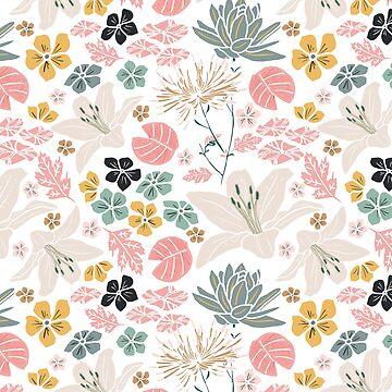 Dusky Japanese pond florals by victoriabrand