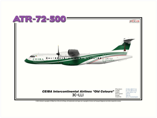 """ATR 72-500 - CEIBA Intercontinental Airlines """"Old Colours"""" (Art Print) by TheArtofFlying"""