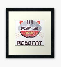 ROBOT CAT - Washed Funny Cat Cop Comic Cartoon Design Framed Print