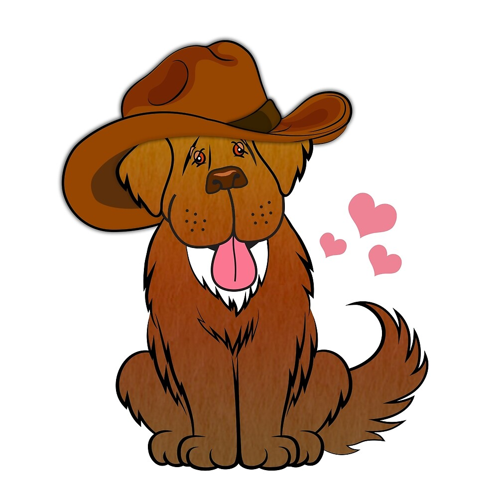 Newfoundland dog with Cowboy Hat by Christine Mullis