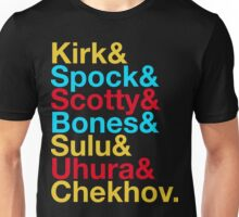 STAR TREK ORIGINAL  Mr. Spock Captain Kirk Uhura Sulu Mr. Chekhov Dr. Bones McCoy  Unisex T-Shirt