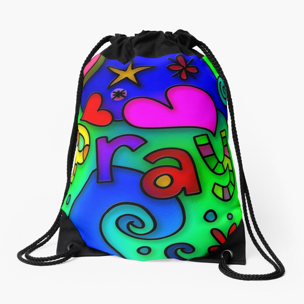 Stained Glass Pray Text Drawstring Bag Front