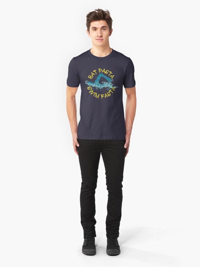 Alternative Ansicht von Eat Pasta Swim Fasta Swimming Pun - Funny Swimming Pun Gift Slim Fit T-Shirt