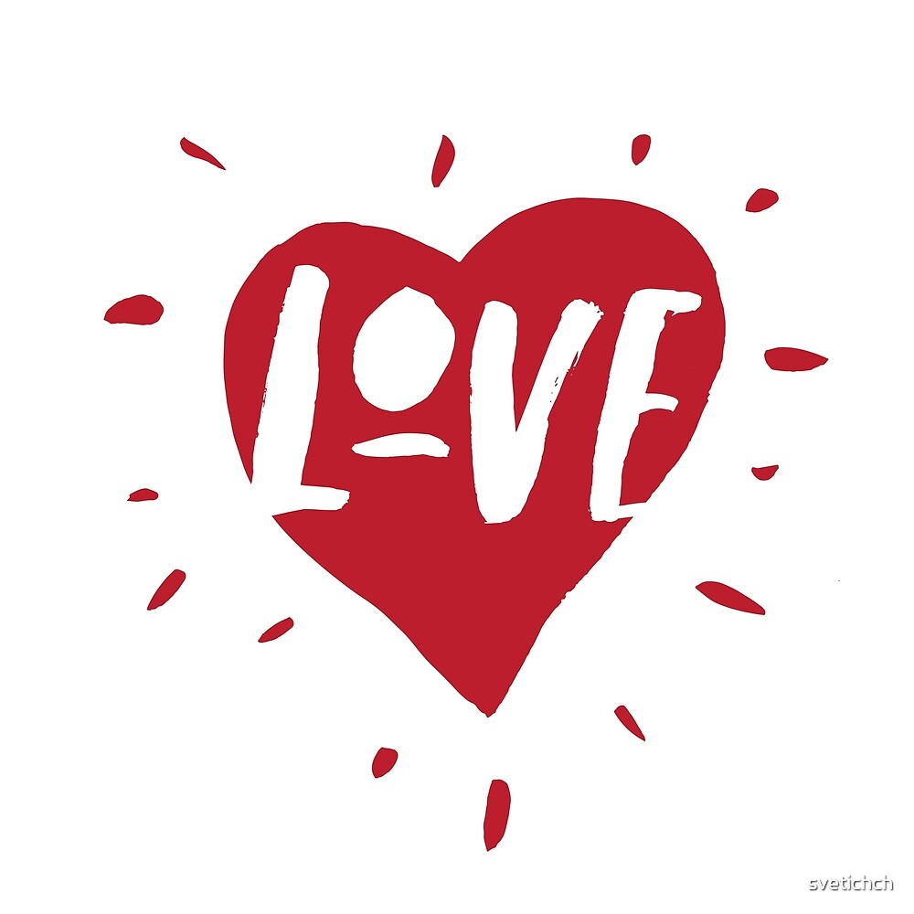 Love lettering with hand-drawn heart in red. For greeting cards and posters for Valentines Day by svetichch