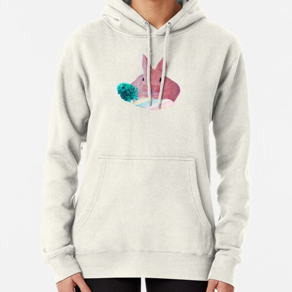 Pink Rabbit with carrot marshmellow by Alice Monber Pullover Hoodie