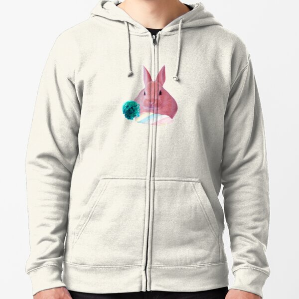 Pink Rabbit with carrot marshmellow by Alice Monber Zipped Hoodie