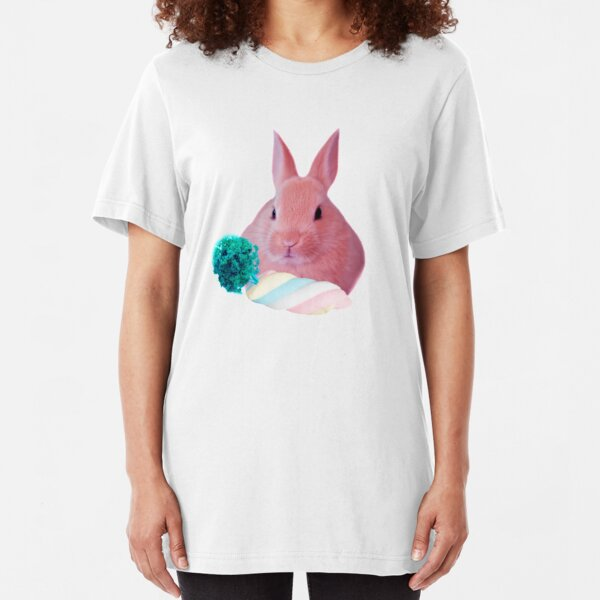 Pink Rabbit with carrot marshmellow by Alice Monber Slim Fit T-Shirt