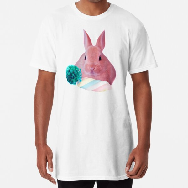 Pink Rabbit with carrot marshmellow by Alice Monber Long T-Shirt