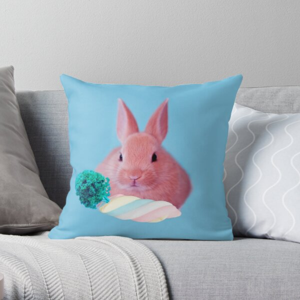 Pink Rabbit with carrot marshmellow by Alice Monber Throw Pillow