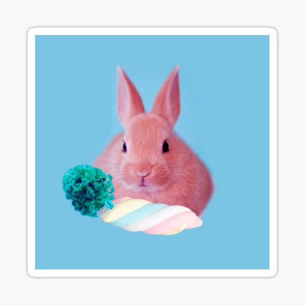 Pink Rabbit with carrot marshmellow by Alice Monber Sticker