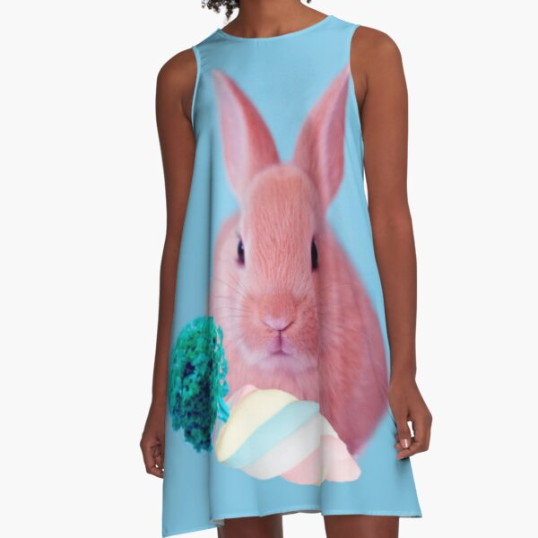 Pink Rabbit with carrot marshmellow by Alice Monber A-Line Dress