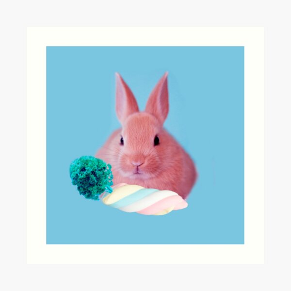 Pink Rabbit with carrot marshmellow by Alice Monber Art Print