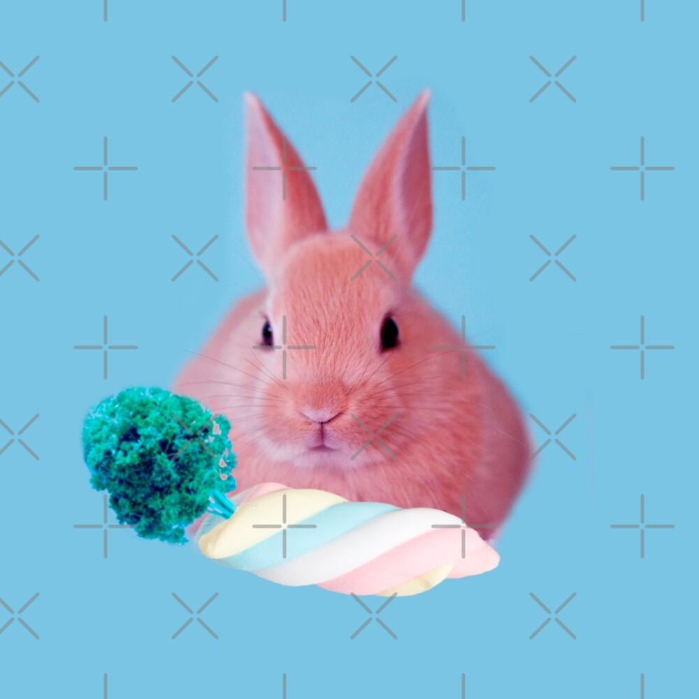 Pink Rabbit with carrot marshmellow by Alice Monber by alicemonbercomp