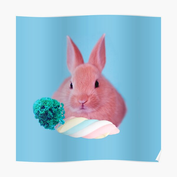 Pink Rabbit with carrot marshmellow by Alice Monber Poster