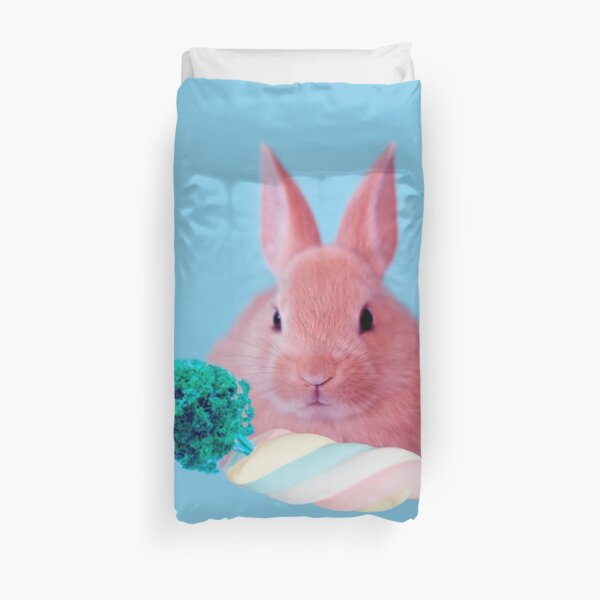 Pink Rabbit with carrot marshmellow by Alice Monber Duvet Cover