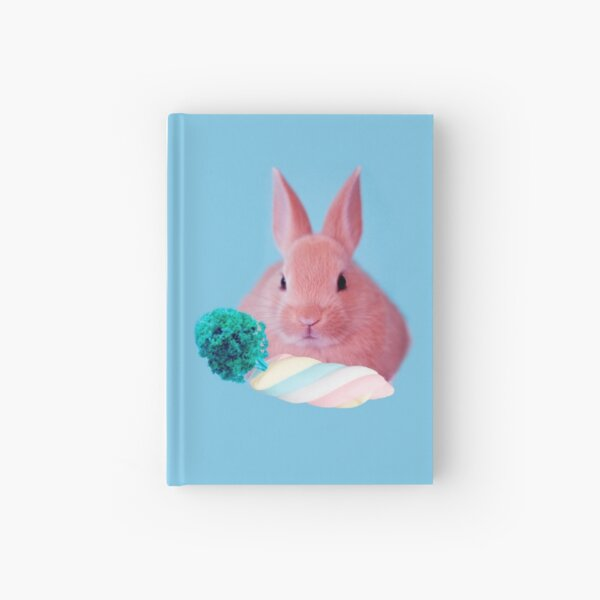 Pink Rabbit with carrot marshmellow by Alice Monber Hardcover Journal