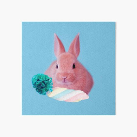 Pink Rabbit with carrot marshmellow by Alice Monber Art Board Print