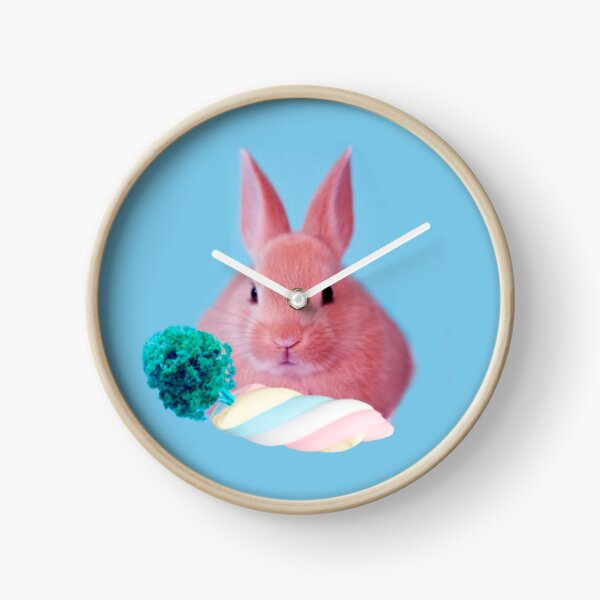 Pink Rabbit with carrot marshmellow by Alice Monber Clock