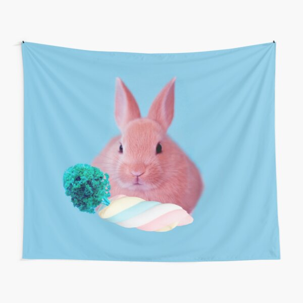 Pink Rabbit with carrot marshmellow by Alice Monber Tapestry