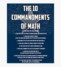 The 10 Commandments Of Math - Funny Mathematics Pun Gift Fotodruck