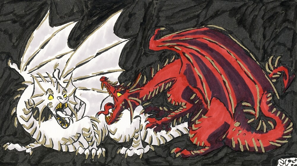 Red and White Dragons Battle by CHeMnICORn