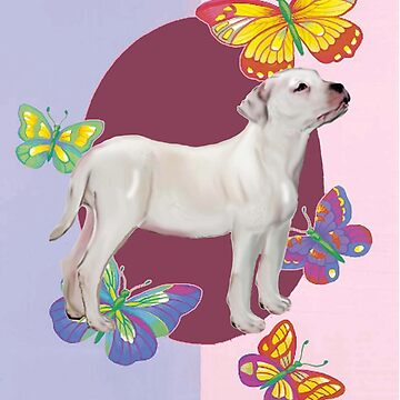 American Bulldog and Butterflies by IowaArtist