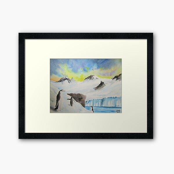 Penguin Antarctic Bird Art, Painting, Gift, Cosmic Framed Art Print