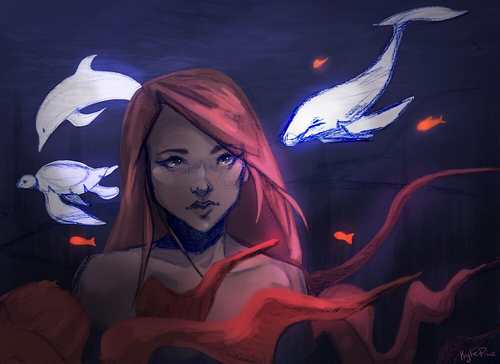 """Underwater Girl"" - Digital Painting Illustration  by Kylie-Price"