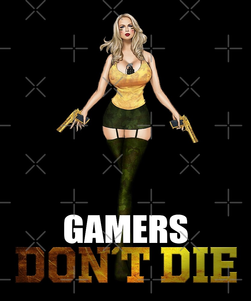 Gamers don´t die Girl with Deagle by Ebru Dorul