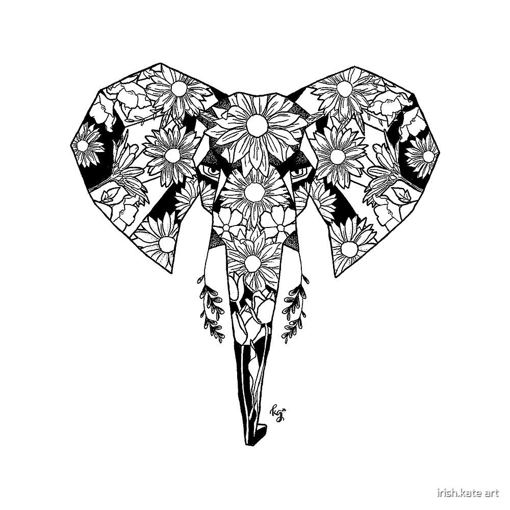 Geometric Elephant Florals by irish.kate art