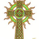 Celtic Cross with Golden Sun Rays by Cleave