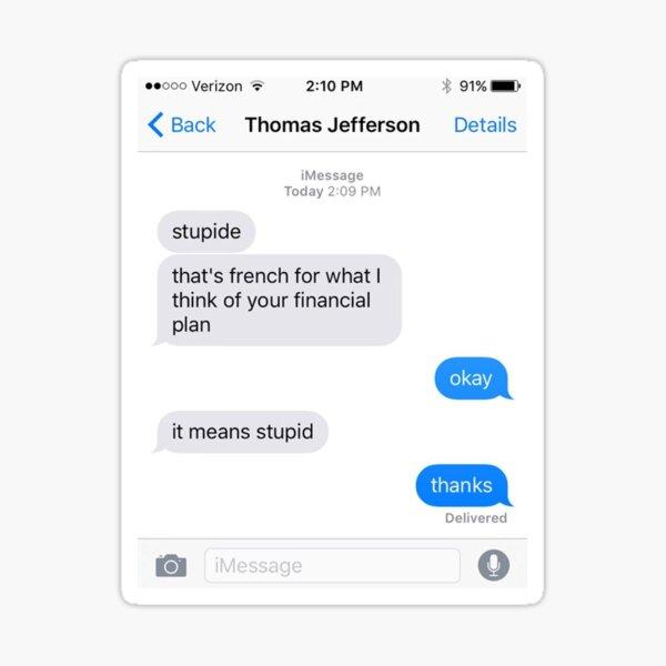 Alexander Hamiton Thomas Jefferson Text Sticker