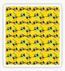 Funny Yellow Retro Ferret Pattern Sticker