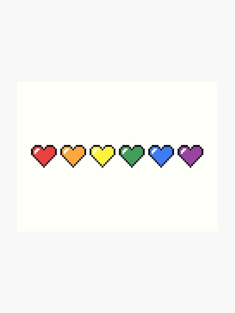Coeurs De Pixel Arc En Ciel Impression Artistique