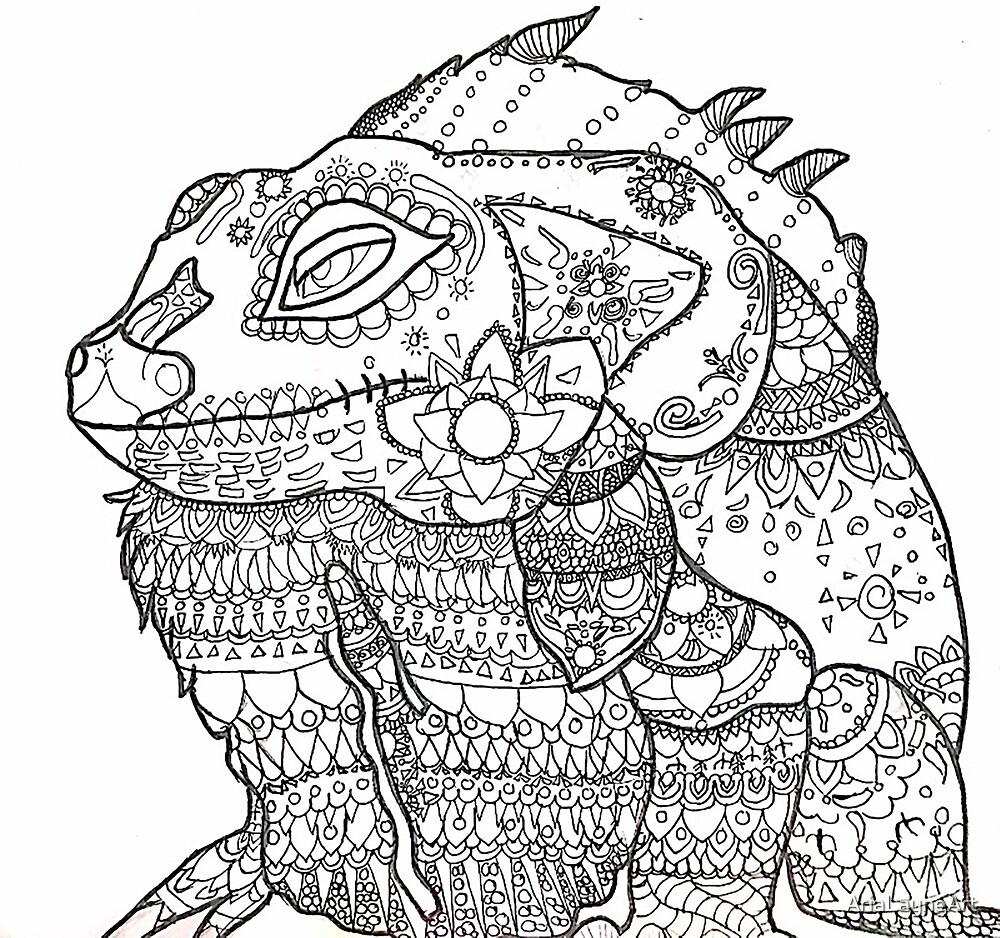 Iguana Alebrije by AriaLayneArt
