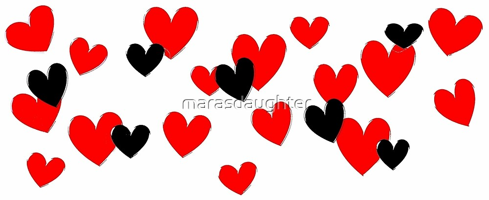 red and black hearts by marasdaughter