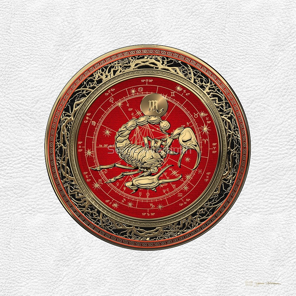 Western Zodiac - Golden Scorpio - The Scorpion on White Leather by Serge Averbukh
