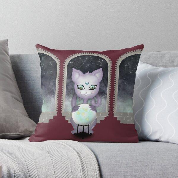 Mystic Miku | Crystal Ball & Zodiac | Wine Red Throw Pillow