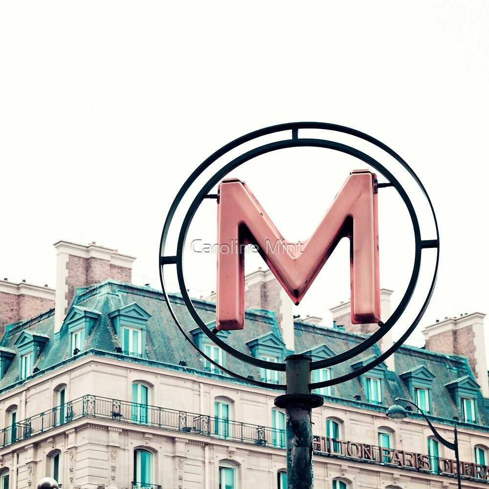 Paris Pink Metro Sign  by Caroline Mint