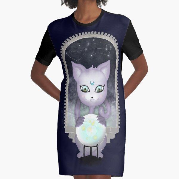 Mystic Miku | Crystal Ball & Zodiac | Navy Graphic T-Shirt Dress