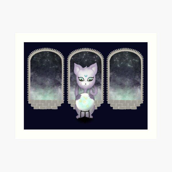Mystic Miku | Crystal Ball & Zodiac | Navy Art Print