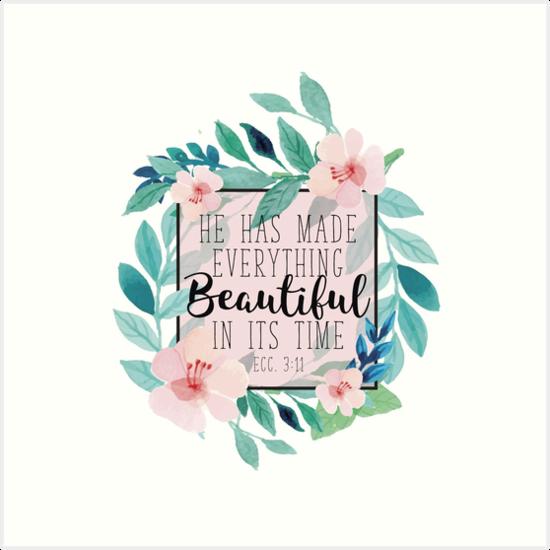 Er hat alles schön in seiner Zeit Bibel-Vers-Blumenmuster gemacht von klthomas14