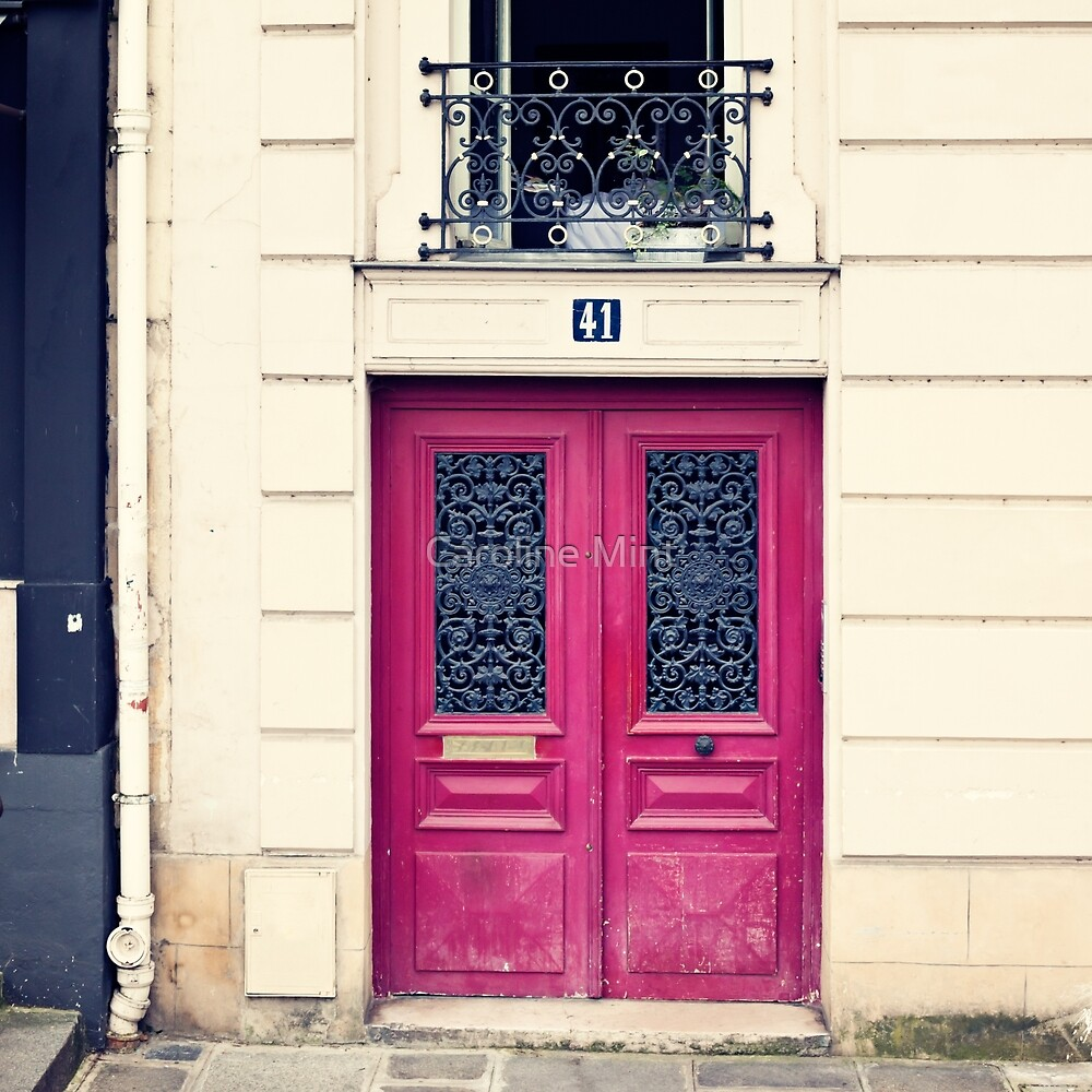 Paris Pink door by Caroline Mint