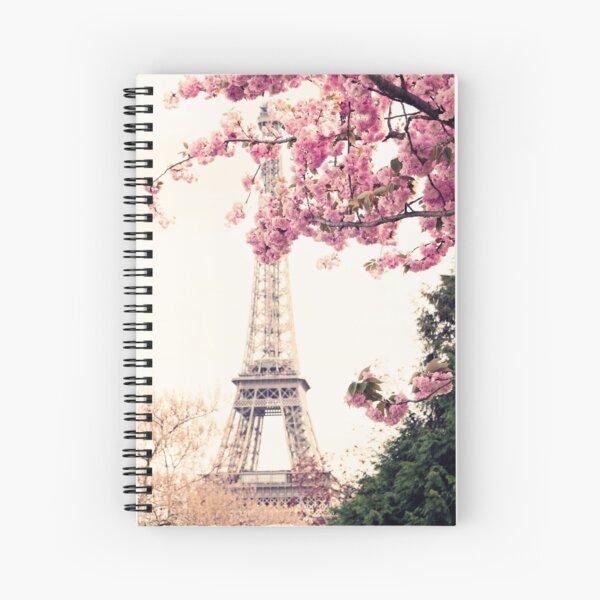 Paris, Eiffel tower and Cherry Blossoms  Spiral Notebook