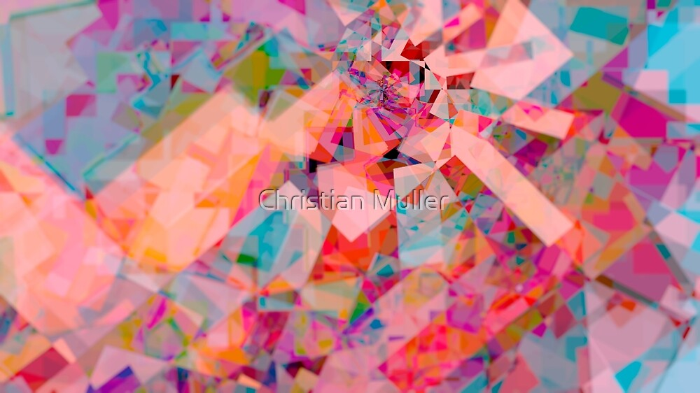 Fractal colorful intricate geometric pattern background by Christian Muller